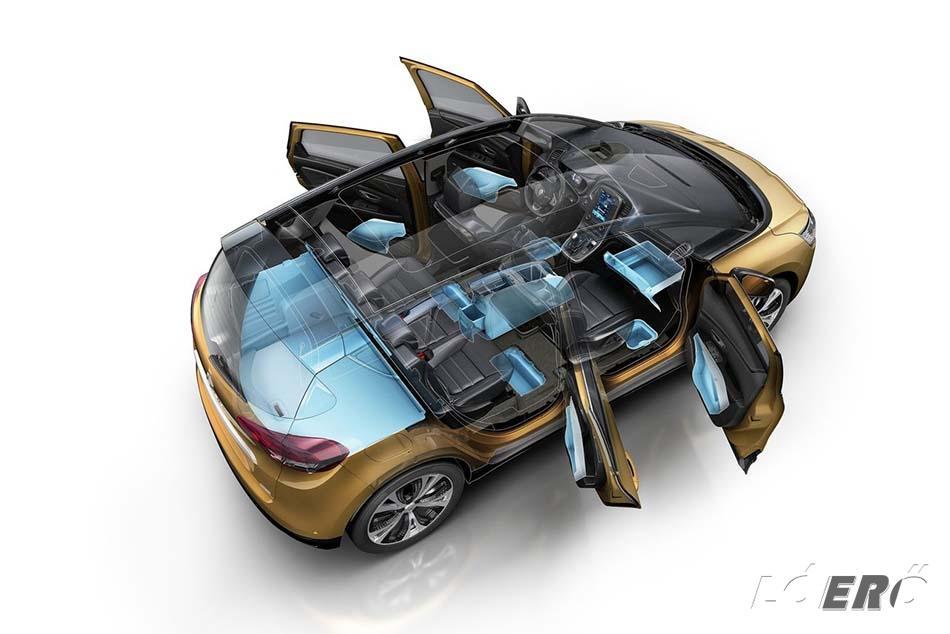 A Renault Scenic méretek hosszabb nyaralásokra is alkalmassá teszik az autót, amihez igazán jól jön az 506 literes csomagtartó, bár az elődnél ez is nagyobb volt.