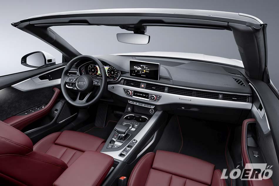 Az Audi A5 Cabrio belső térkialakítása és felszereltsége közelít már egy magasabb osztály megoldásaihoz.