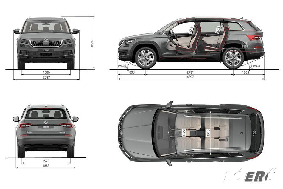 Bár a Skoda Kodiaq méretek nem a legnagyobbak a SUV családban, mégis tekintélyt parancsolóak 4,70 méteres hosszúságával, akár hétüléses utasterével és kategóriája legnagyobb csomagterével.