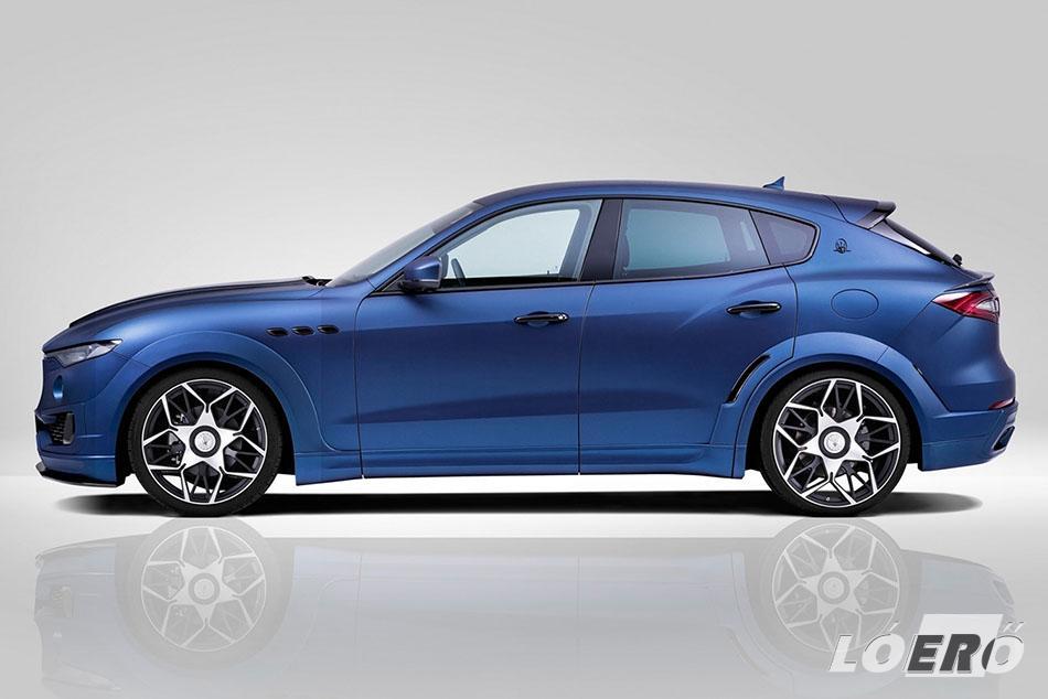 Maserati Levante Esteso szélesítő készlete nyolc darabból áll, benne az új kerékívekkel és az összekötő küszöbelemekkel.
