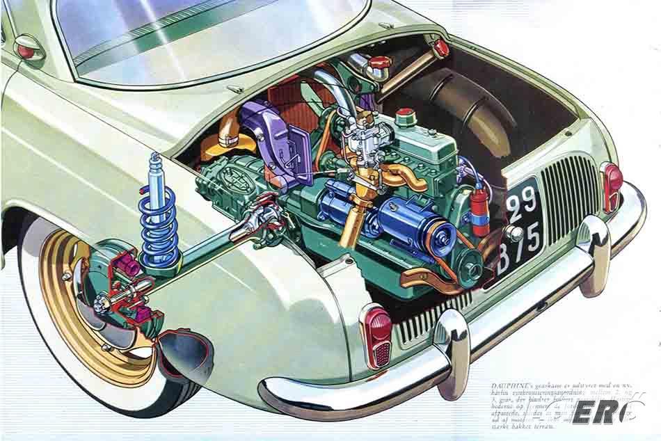 A Renault Dauphine esetében megtartották a farmotoros, hátsókerék-hajtású kialakítást, majd az első működő prototípussal titokban 1952 nyarán kezdtek el tesztelni.