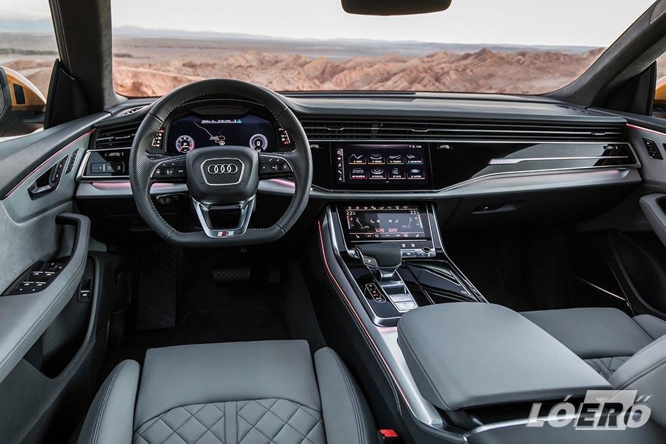 A tekintélyt parancsoló Audi Q8 méretek mellé természetesen abszolút prémium minőségű utasteret is kapunk.