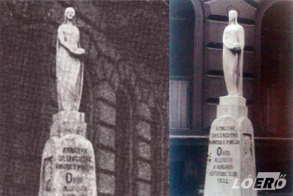 A sorban a második, de a fennmaradt tárgyi emlékek alapján az első 0 kilométerkő. Körmendi Frim Jenő alkotása a Patrona Hungariae.