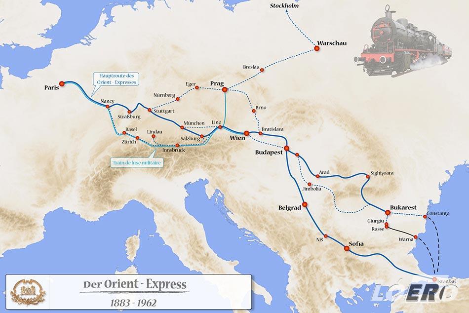 Az Orient Expressz útvonala Budapest érintésénél vált ketté Belgrád és Bukarest felé.