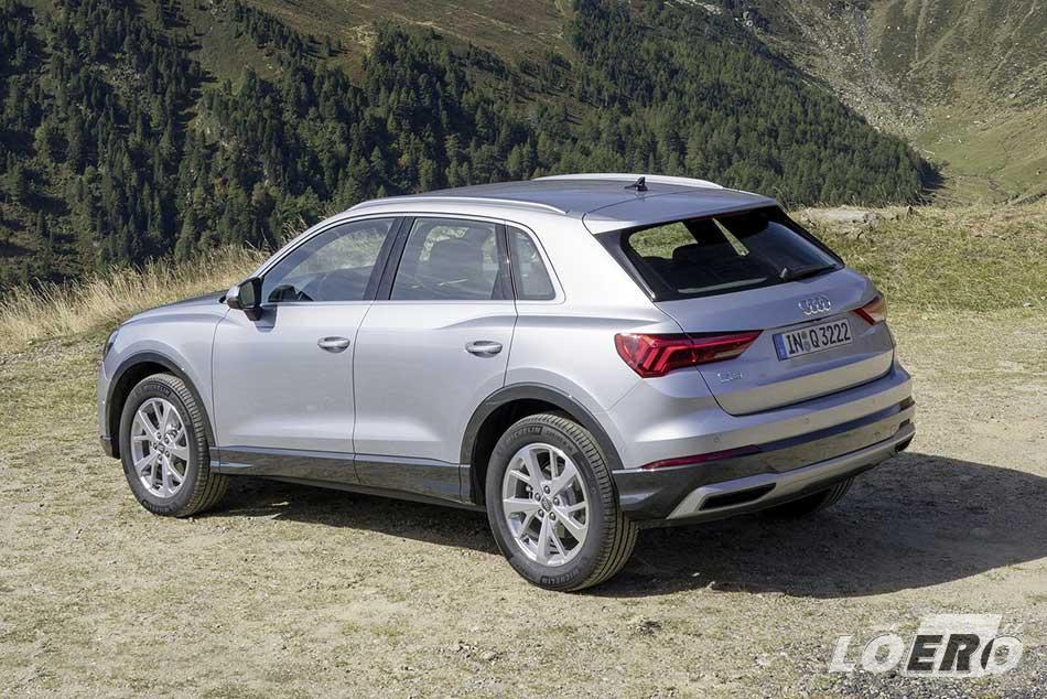 Audi Q3 motorválaszték elérhető teljesítményszintje a megálmodott változattól függően 150 és 230 lóerő között szóródik.