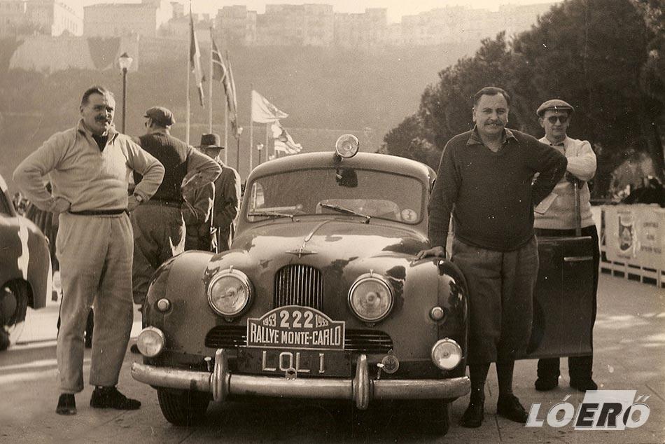 A Jowett Jupiter versenyautó a Monte Carlo Rally-n.