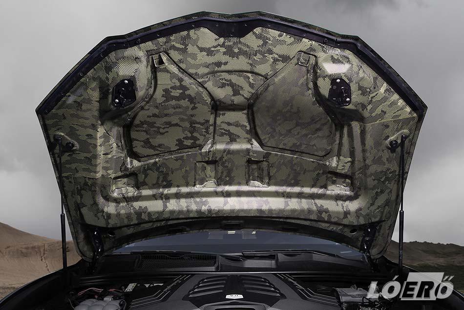 Hogy milyen megfontolásból, azt nem tudni, de a Lamborghini motor karbon gépháza terepmintás belső burkolatot kapott.