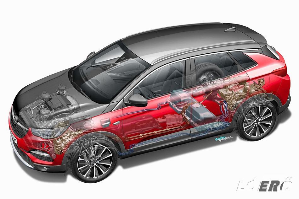 Az Opel Grandland X Hybrid 300 lovat kapott, melyet egy 1.6-os benzines, és két villanymotor szolgáltat majd.