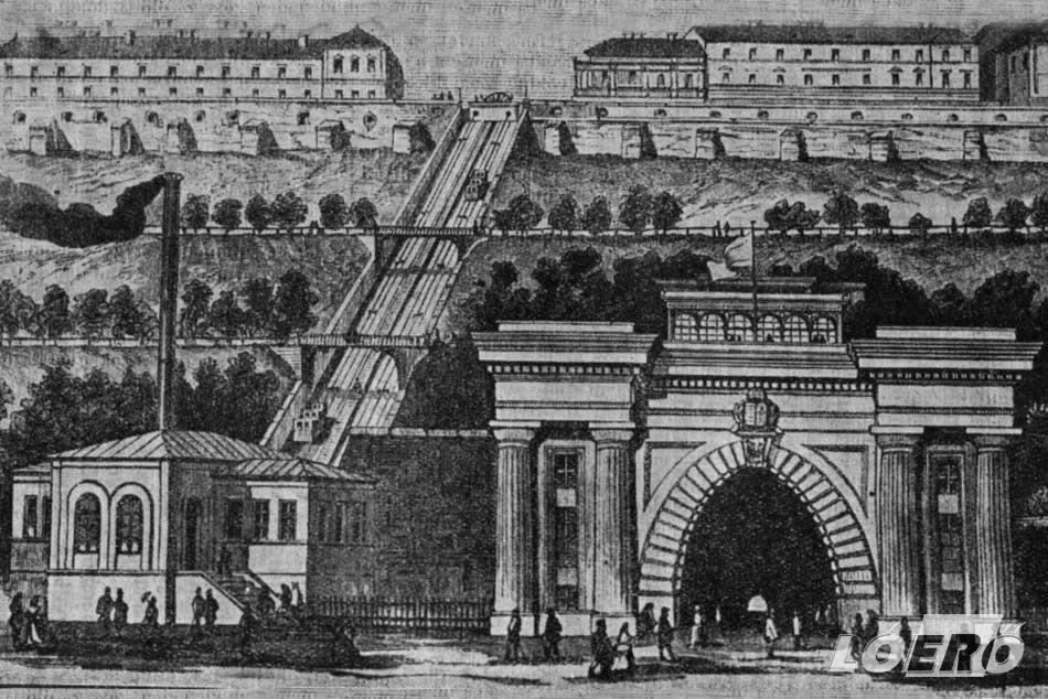 A Budavári Sikló, vagy ahogyan akkor hívták, a Budai Hegypálya egy korabeli rajza a megnyitást követő évekből.
