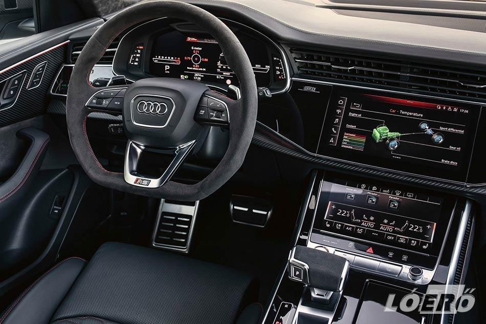 A sportos külső mellé természetesen remek belső társul az Audi RS Q8 esetében is.