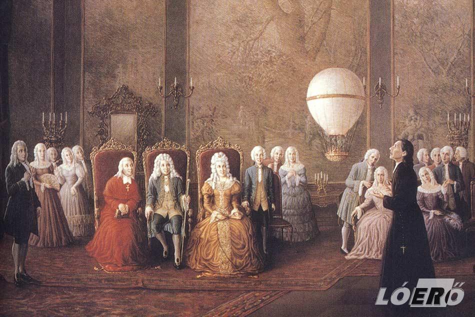 Lourenco de Gusmao atya 1709. augusztus 8-án bemutatja találmányát, bár ekkor még senki nem gondolta, hogy a későbbi hőlégballonozás alapjait rakta le.