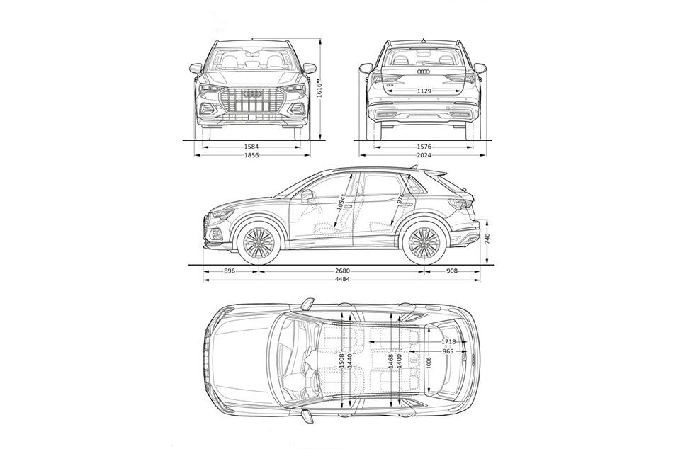 Az új Audi Q3 méretek nagyon jól be lettek lőve, a hátsó ülések mozgatásával bármikor tudunk elegendő helyet prezentálni.