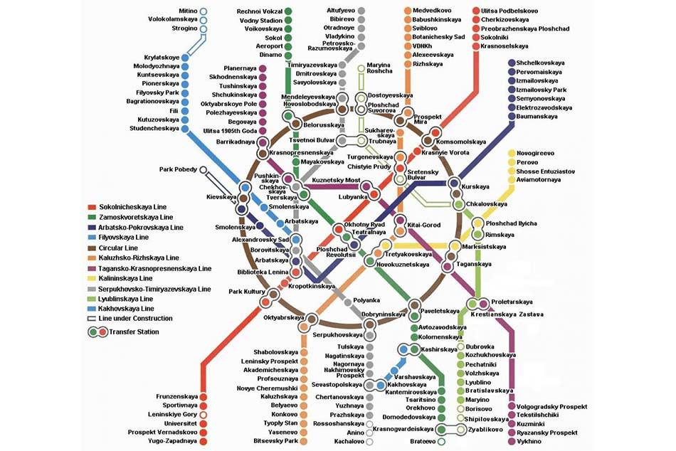 A belefektetett munka mennyiségét szinte lehetetlen elképzelni, de Moszkva metrótérképe már lebutított formájában is jól szemlélteti a hatalmas méreteket.